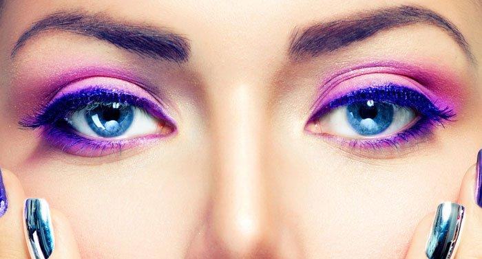 close up of pink eye shadow make up