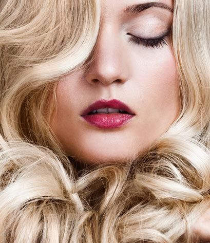 close up of curly blonde hair