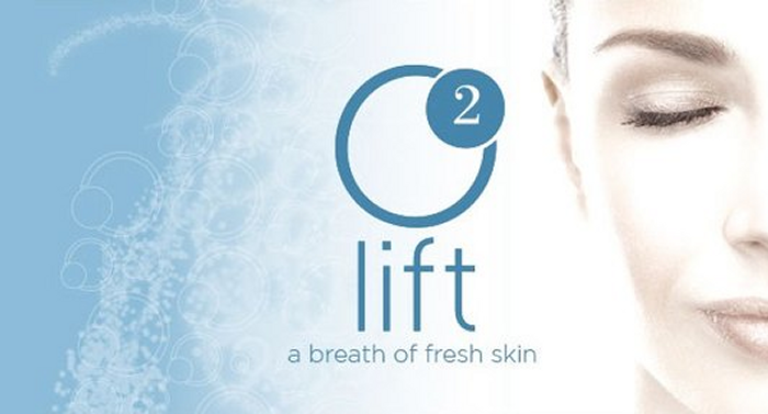 girl with smooth skin and the O2 lift logo