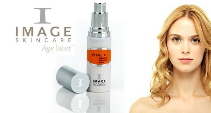 girl with flawless skin together with the image skincare product